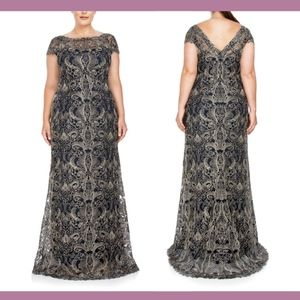 NEW$588 Tadashi Shoji Corded Embroidery Gown 24W Q